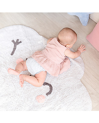 Lorena Canals Tappeto Lavabile a Forma di Nuvoletta Happy  Cloud - 100% cotton (85x120 cm) Tappeti