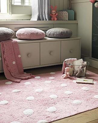 Lorena Canals Tappeto Lavabile a Pois, Rosa - 100% Cotone (120cm x 160cm)  Tappeti