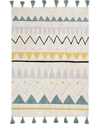 Lorena Canals Tappeto Lavabile Azteca, Panna/Azzurro Vintage, 100% Cotone (140x200 cm) Tappeti