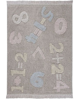 Lorena Canals Tappeto Lavabile Baby Numbers, Back to School - 100% Cotone (120cm x 160cm) Tappeti