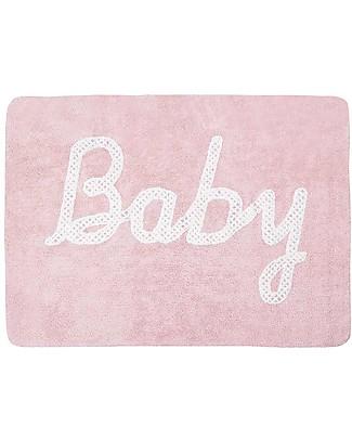 Lorena Canals Tappeto Lavabile Baby, Rosa pallido – 100% Cotone (120cm x 160cm)  Tappeti Gioco