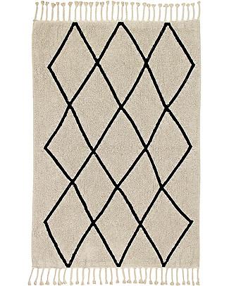 Lorena Canals Tappeto Lavabile Black and White, Bereber Beige - 100% Cotone (140cm x 200cm)  Tappeti