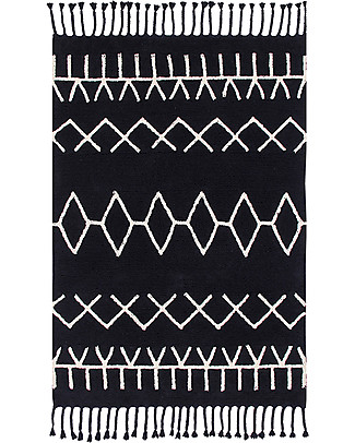 Lorena Canals Tappeto Lavabile Black and White, Bereber Nero - 100% Cotone (140cm x 200cm)  Tappeti