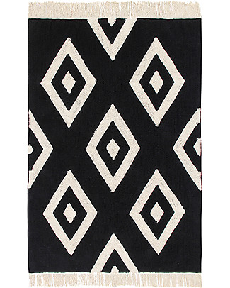 Lorena Canals Tappeto Lavabile Black and White, Diamonds - 100% Cotone (140cm x 200cm)  Tappeti