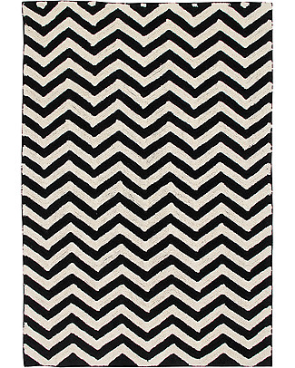Lorena Canals Tappeto Lavabile Black and White, Zig-Zag - 100% Cotone (140cm x 200cm)  Tappeti