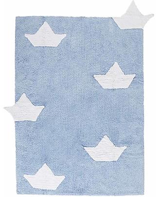 Lorena Canals Tappeto Lavabile con Barchette, Azzurro - 100% Cotone (120 x 160 cm)  Tappeti