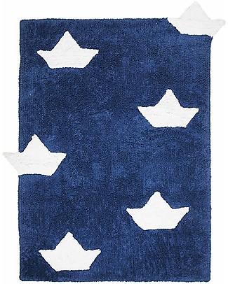 Lorena Canals Tappeto Lavabile con Barchette, Blu - 100% Cotone (120 x 160 cm)  Tappeti