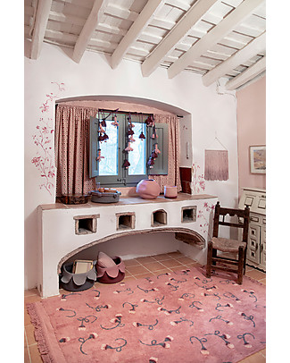 Lorena Canals Tappeto Lavabile con Frange Giardino Inglese, Rosa Cenere – 100% Cotone (140x210cm) Tappeti