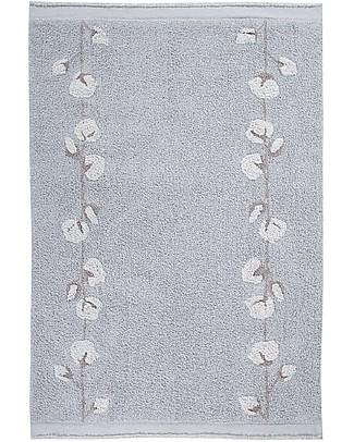 Lorena Canals Tappeto Lavabile Fiocchi di Cotone, Grigio Perla - 100% Cotone (120x170cm) Tappeti