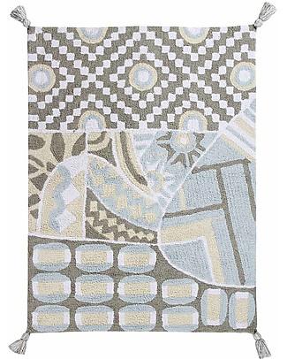 Lorena Canals Tappeto Lavabile Indian Bag, Grigio/Azzurro - 100% Cotone (120x160 cm) Tappeti