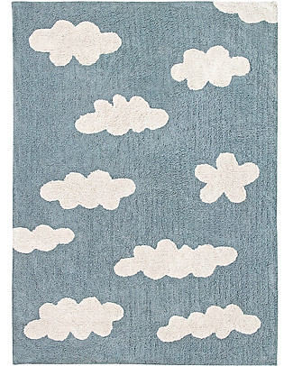 Lorena Canals Tappeto Lavabile Nuvole, Azzurro Vintage - 100% Cotone (120x160 cm) Tappeti