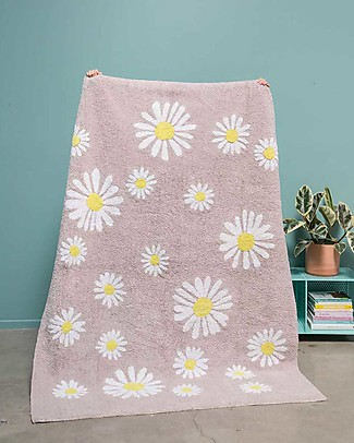 Lorena Canals Tappeto Lavabile OhJoy, Happy Daisies - 100% Cotone (140 x 200 cm) Limited edition! Tappeti