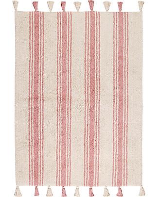 Lorena Canals Tappeto Lavabile, Righe Rosa Corallo - 100% Cotone (120cm x 160cm)  Tappeti