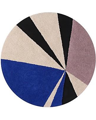 Lorena Canals Tappeto Lavabile Rotondo a Motivo Geometrico Klein - 100% cotone (160 cm) Tappeti