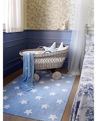 Lorena Canals Tappeto Lavabile Stelle Bianche, Azzurro - 100% Cotone (120cm x 160cm) Tappeti