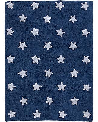 Lorena Canals Tappeto Lavabile Stelle Bianche, Blu – 100% Cotone (120cm x 160cm) Tappeti