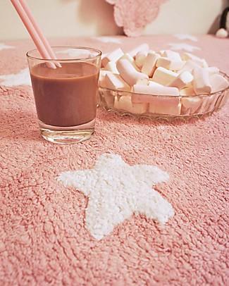 Lorena Canals Tappeto Lavabile Stelle Bianche, Rosa – 100% Cotone (120cm x 160cm) Tappeti