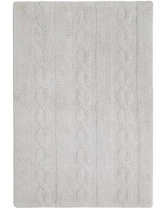 Lorena Canals Tappeto Lavabile Trecce Grigio Perla – 100% Cotone (120cm x 160cm) - Pezzo di Showroom! Tappeti