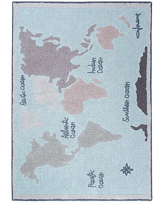 Lorena Canals Tappeto Lavabile Vintage Map, Back to school - 100% Cotone (140 x 200 cm) null
