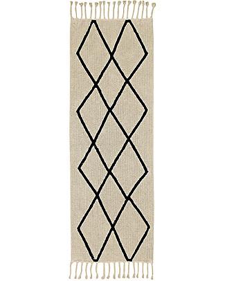 Lorena Canals Tappeto Lungo Lavabile Black and White, Bereber Beige - 100% Cotone (80cm x 230cm)  Tappeti