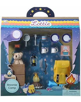 Lottie Set da gioco Campeggio, per la Bambola Lottie Capo Scout Case delle Bambole