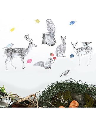 Love Mae Mini Sticker in Stoffa, Animali della Foresta - Riposizionabili! Ottima idea regalo anche per gli adulti! Adesivi Da Parete
