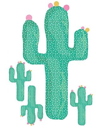 Love Mae Mini Sticker in Stoffa, Cactus - Riposizionabili! Ottima idea regalo anche per gli adulti! Adesivi Da Parete