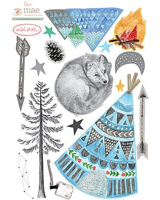 Love Mae Mini Sticker in Stoffa, Volpe - Riposizionabili! Ottima idea regalo anche per gli adulti! Adesivi Da Parete