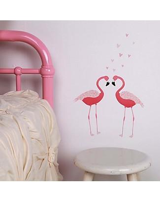 Love Mae Mini Stickers per Muro, Fenicotteri - Riposizionabili e Biodegradabili! Adesivi Da Parete