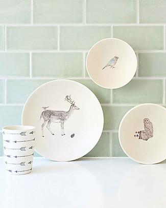 Love Mae Set Pappa in Bambù 4 pezzi, Animali della foresta – Durevole ed ecologico! Perfetta idea regalo! Piatti e Scodelle