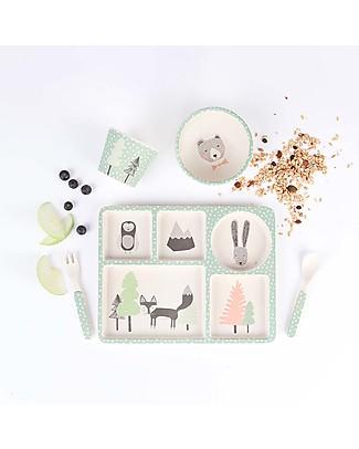 Love Mae Set Pappa in Bambù 5 pezzi, Volpe &Co - Resistente, durevole ed ecologico! Perfetta idea regalo! Piatti e Scodelle