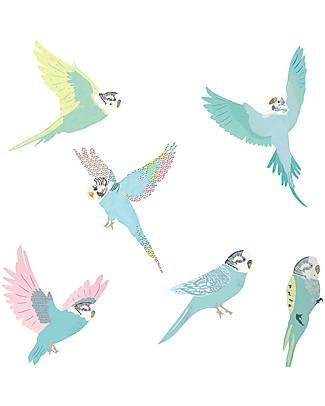 Love Mae Sticker per Muro in Stoffa, Pappagallini - Riposizionabili e Biodegradabili! Adesivi Da Parete