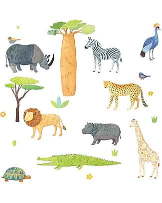 Love Mae Sticker per Muro in Stoffa, Safari - Riposizionabili e Biodegradabili! Adesivi Da Parete