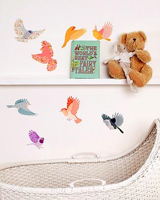 Love Mae Sticker per Muro in Stoffa, Uccellini Colorati - Riposizionabili e Biodegradabili! Adesivi Da Parete