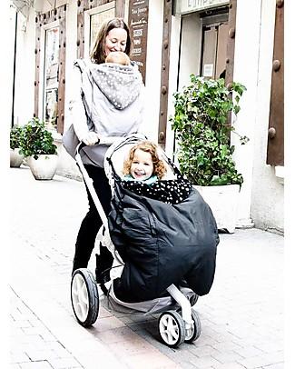 Lucky Baby Mantella Copri Portabebè 3-in-1, Grigio+Stelle - Tiene al caldo il tuo bebè nella fascia o nel passeggino! Sacchi Passeggino