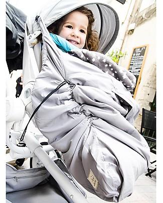 Lucky Mantella Copri Portabebè 3-in-1, Grigio/Stelle – Tiene al caldo il tuo bebè nella fascia o nel passeggino! Sacchi Passeggino