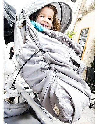Lucky Mantella Copri Portabebè 3-in-1, Grigio+Stelle - Tiene al caldo il tuo bebè nella fascia o nel passeggino! Sacchi Passeggino