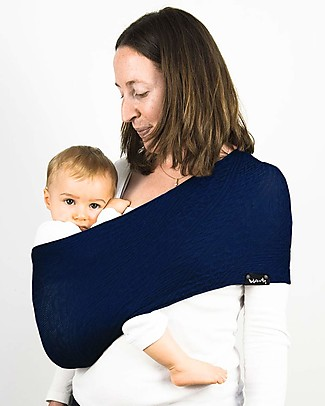 Lucky Wacotto, Fascia Porta Bebè 2 in 1, Blu Navy – 6-36 mesi - È anche sciarpa infinity!  Fasce Portabebé