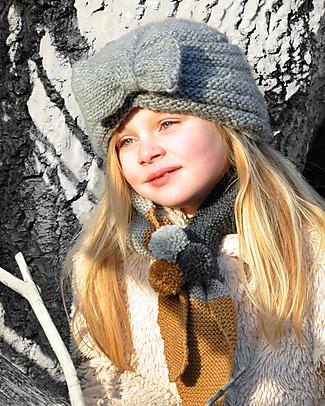 Lullaby Road Cappello a Turbante con Fiocco, Grigio (2-4 e 4-6 anni) – Lana merino foderata in pile Cappelli