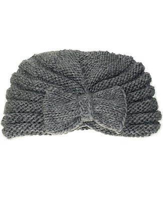 Lullaby Road Cappello a Turbante con Fiocco, Grigio (6-12 mesi e 1-2 anni) – Lana merino foderata in pile Cappelli