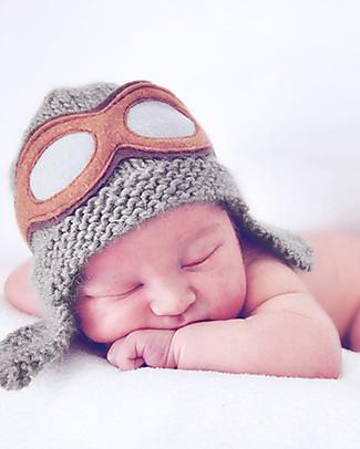 Lullaby Road Cappello Aviatore con Occhialini Amovibili, Grigio – Lana merino foderata in pile Cappelli