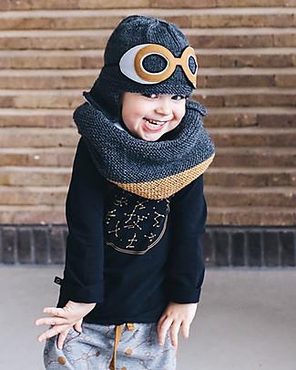 Lullaby Road Cappello con Occhialini Space Removibili, Carbone (1-2 anni)– Lana merino foderata in pile Cappelli
