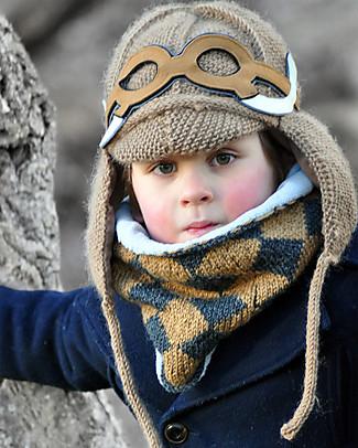 Lullaby Road Cappello Invernale Mammut con Occhialini Removibili, Caramello (2-4 e 4-6 anni) – Lana merino foderata in pile Cappelli