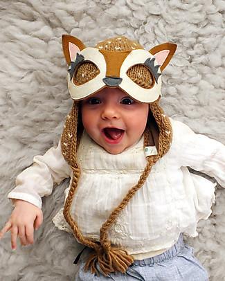 Lullaby Road Cappello Invernale Renna con Occhialini Removibili, Caramello (0-2 anni) – Lana merino foderata in pile Cappelli