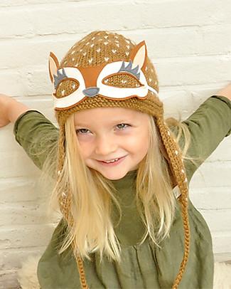 Lullaby Road Cappello Invernale Renna con Occhialini Removibili, Caramello (2-4 anni) – Lana merino foderata in pile Cappelli