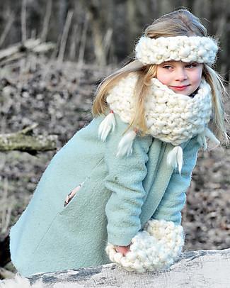 Lullaby Road Collo Eskimo, Bianco Con Frange - Lana Merino foderata in pile Guanti e Muffole