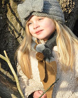 Lullaby Road Sciarpa Bimba con Punte e Pon Pon, Carbone/Grigio chiaro/Caramello (2-6 anni) - Lana Merino Sciarpe e Mantelle