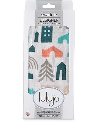 Lulujo Baby Copertina Swaddle 120 x 120 cm, Casette - 100% mussola di cotone  Copertine Swaddles