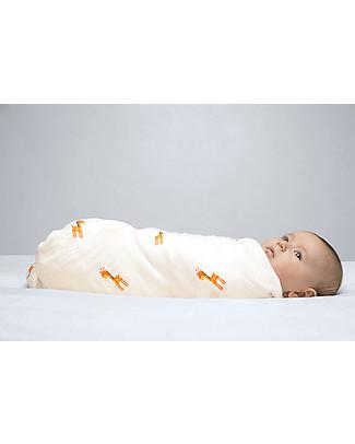 Lulujo Baby Copertina Swaddle 120 x 120 cm, Giraffe - 100% mussola di cotone  Copertine Swaddles