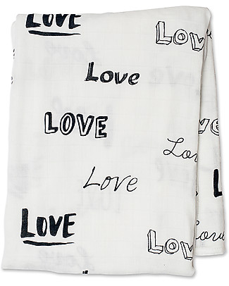 Lulujo Baby Copertina Swaddle 120 x 120 cm, Love - Mussola di bambù Copertine Swaddles